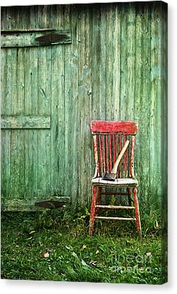 Canvas Print featuring the photograph Old Red Chair Near A Barn/digital Oil Painting by Sandra Cunningham