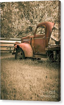 Old Red Farm Truck Canvas Print by Edward Fielding