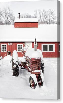 Old Red Tractor In Front Of Classic Sugar Shack Canvas Print by Edward Fielding