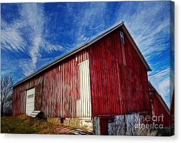 Old Red Wooden Barn Canvas Print by Jim Lepard