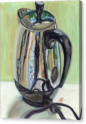 Old Reliable Stainless Steel Coffee Perker Canvas Print by Jennie Traill Schaeffer