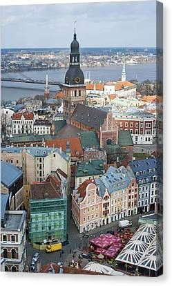 Old Riga City Roofs Canvas Print