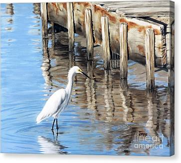 Old River Wharf In Matagorda Canvas Print by Jimmie Bartlett