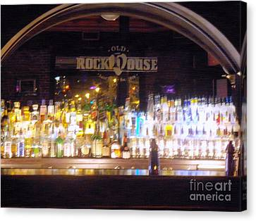 Canvas Print featuring the photograph Old Rock House Bar by Kelly Awad