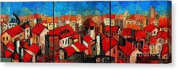 Old Roofs Of Lyon Canvas Print by Mona Edulesco
