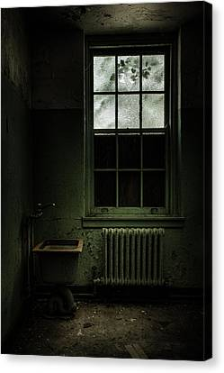 Old Room - Abandoned Asylum - The Presence Outside Canvas Print by Gary Heller