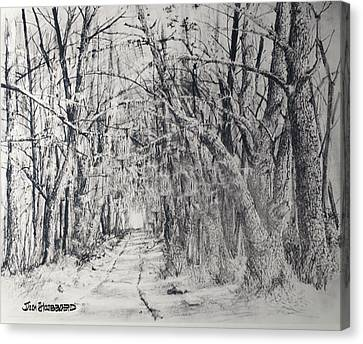 Canvas Print featuring the drawing Old Rte 101 by Jim Hubbard