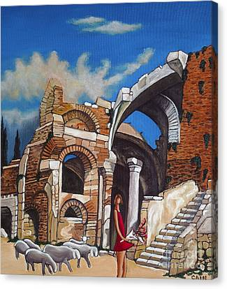 Old Ruins Flower Girl And Sheep Canvas Print by William Cain