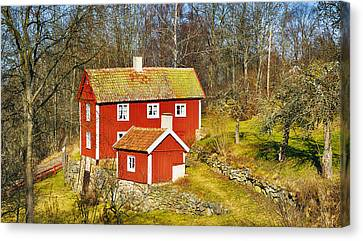 Canvas Print featuring the photograph Old Rural 16th Century Cottage by Christian Lagereek