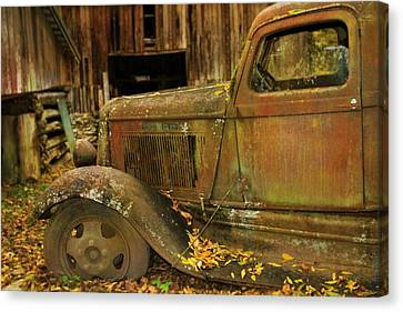 Old Rusted Truck In Autumn Canvas Print