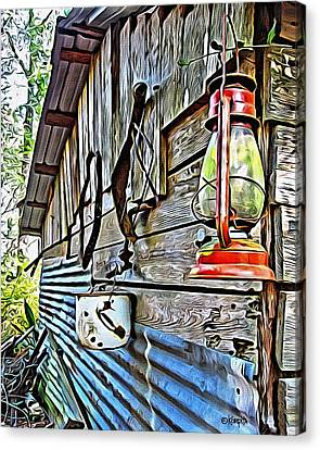 Old Rustic Building - Aunt Tinys Shed  Canvas Print by Rebecca Korpita