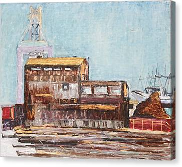 Old Rustic Schnitzer Steel Building With Crane And Ship Canvas Print by Asha Carolyn Young