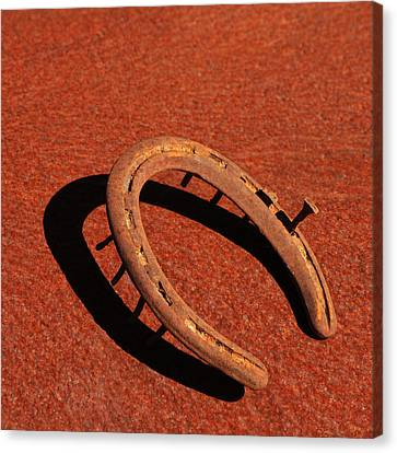 Old Rusty Horseshoe Canvas Print by Art Block Collections