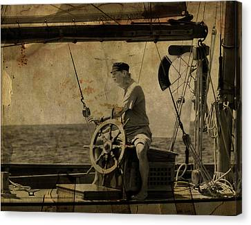 old sailor A vintage processed photo of a sailor sitted behind the rudder in Mediterranean sailing Canvas Print by Pedro Cardona