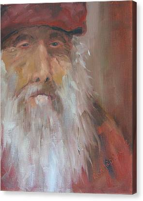 Old Man With Beard Canvas Print - Old Salt Christo At 80 by Susan Richardson