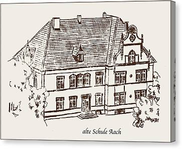Old School Houses Canvas Print - Old School Aach by Michael Kuelbel
