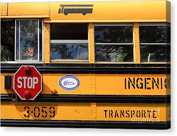 Stop Sign Canvas Print - Old School Bus 2 by James Brunker