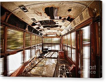 Old School Bus In Motion Hdr Canvas Print by James BO  Insogna