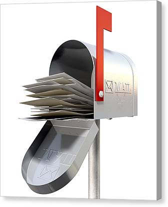 Old School Retro Metal Mailbox Full Canvas Print by Allan Swart