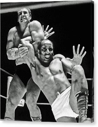 Canvas Print featuring the pyrography Old School Wrestling Arm Lock By Tony Rocco On Sir Earl Maynard by Jim Fitzpatrick