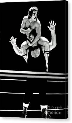Canvas Print featuring the photograph Old School Wrestling Piggyback Ride By Mando Guerrero by Jim Fitzpatrick