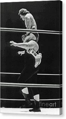 Canvas Print featuring the photograph Old School Wrestling Piggyback Ride II With Mando Guerrero  by Jim Fitzpatrick