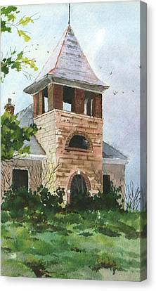 Canvas Print featuring the painting Old Schoolhouse by Susan Crossman Buscho