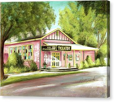 Canvas Print featuring the painting Old Schoolhouse Theater On Sanibel Island by Melinda Saminski