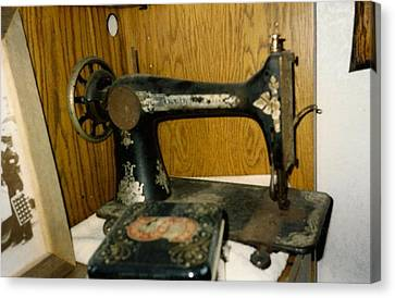 Old Sewing Machine Canvas Print by Amazing Photographs AKA Christian Wilson