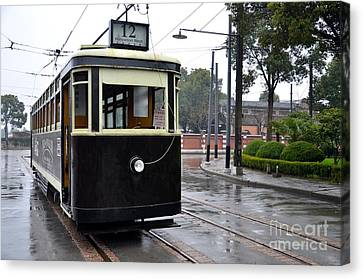 Old Shanghai Trolley Tram Car Rests In Tracks Canvas Print by Imran Ahmed