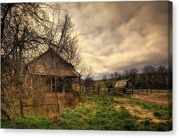 Old Shed And Barn At Osage Canvas Print by Michael Dougherty