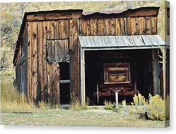 Old Shed And Wagon Canvas Print by Kae Cheatham