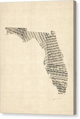 Old Sheet Music Map Of Florida Canvas Print by Michael Tompsett