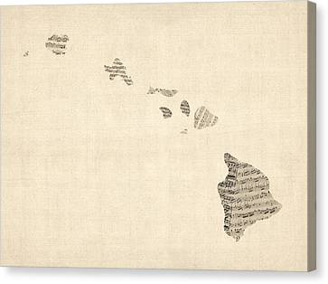 Old Sheet Music Map Of Hawaii Canvas Print by Michael Tompsett