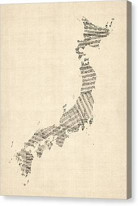 Old Sheet Music Map Of Japan Canvas Print by Michael Tompsett