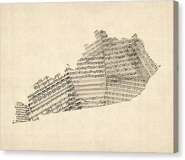 Old Sheet Music Map Of Kentucky Canvas Print by Michael Tompsett