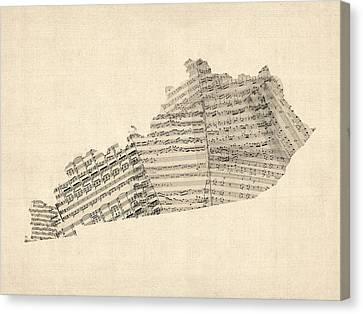 Old Sheet Music Map Of Kentucky Canvas Print by Michael Tompsett