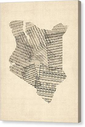 Old Sheet Music Map Of Kenya Map Canvas Print by Michael Tompsett