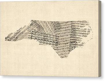 Old Sheet Music Map Of North Carolina Canvas Print by Michael Tompsett