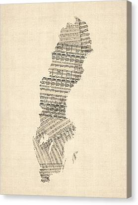 Old Sheet Music Map Of Sweden Canvas Print by Michael Tompsett