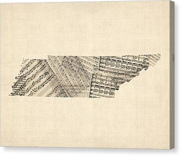 Old Sheet Music Map Of Tennessee Canvas Print by Michael Tompsett