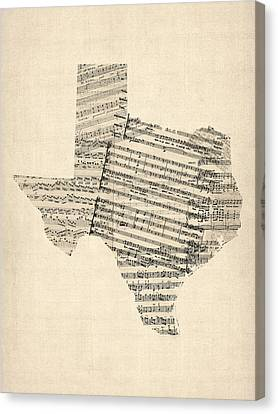 Old Sheet Music Map Of Texas Canvas Print