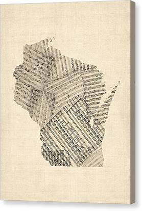 Old Sheet Music Map Of Wisconsin Canvas Print by Michael Tompsett