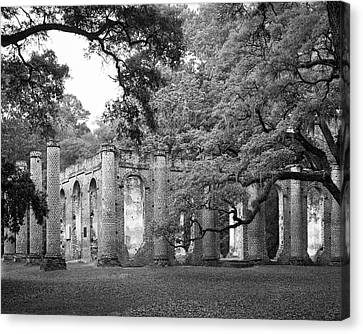 Old Sheldon Church - Black And White Canvas Print
