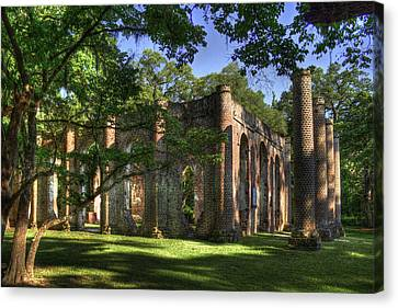 Old Sheldon Church Near Beaufort Sc Canvas Print by Reid Callaway