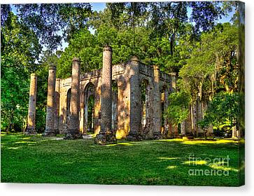 Old Sheldon Church Ruins In South Carolina Canvas Print by Reid Callaway