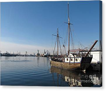Old Ship In Calm Water Harbor Canvas Print by Kiril Stanchev