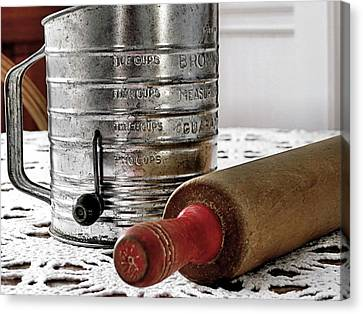 Old Sifter And Rolling Pin Canvas Print by Janice Drew