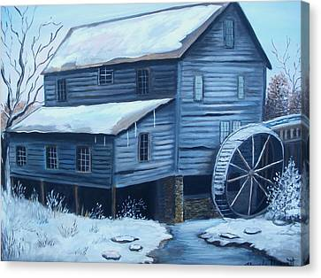 Old Snow Covered Mill Canvas Print by Glenda Barrett