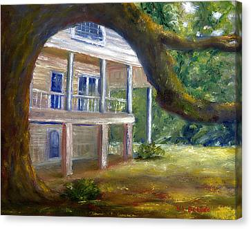 Canvas Print featuring the painting Old Southern Louisiana Mansion Plantation by Lenora  De Lude